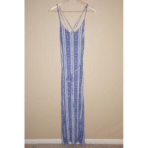 Lush Blue Maxi Dress with Criss-Cross Back